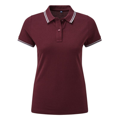 Ladies Burgundy/Sky Tipped Collar Polo Shirt