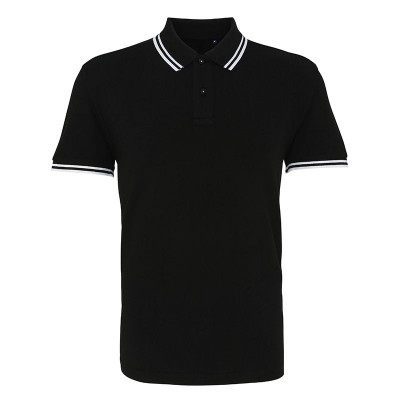 Mens Black/White Tipped Collar Polo Shirt