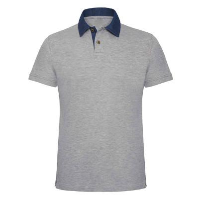 Mens Denim/Grey Contrast Polo