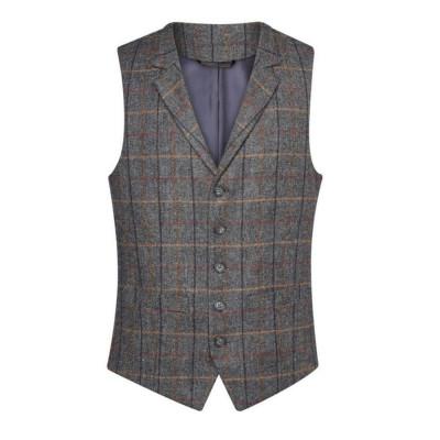 Men's Grey/Brown Check Waistcoat