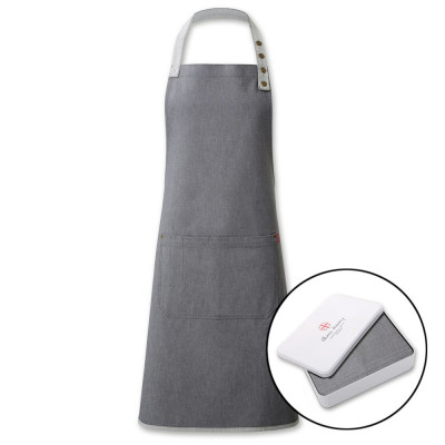 Contrast Grey Denim Apron In A Tin