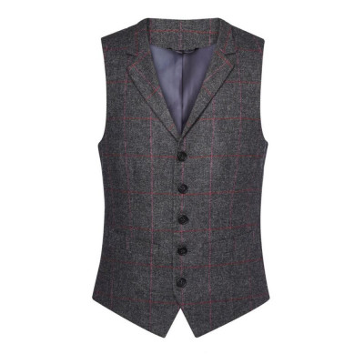 Men's Charcoal/Pink Check Waistcoat