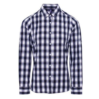 Navy/White Check Blouse