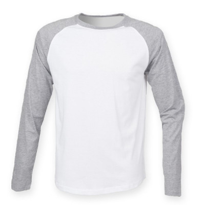 Mens White/Grey Baseball T-Shirt