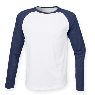 Mens White/Navy Baseball T-Shirt