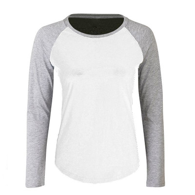 Womens White/Grey Baseball T-Shirt