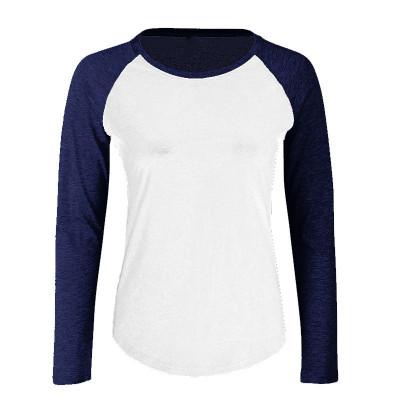 Womens White/Navy Baseball T-Shirt