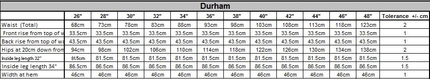 Durham Size Guide
